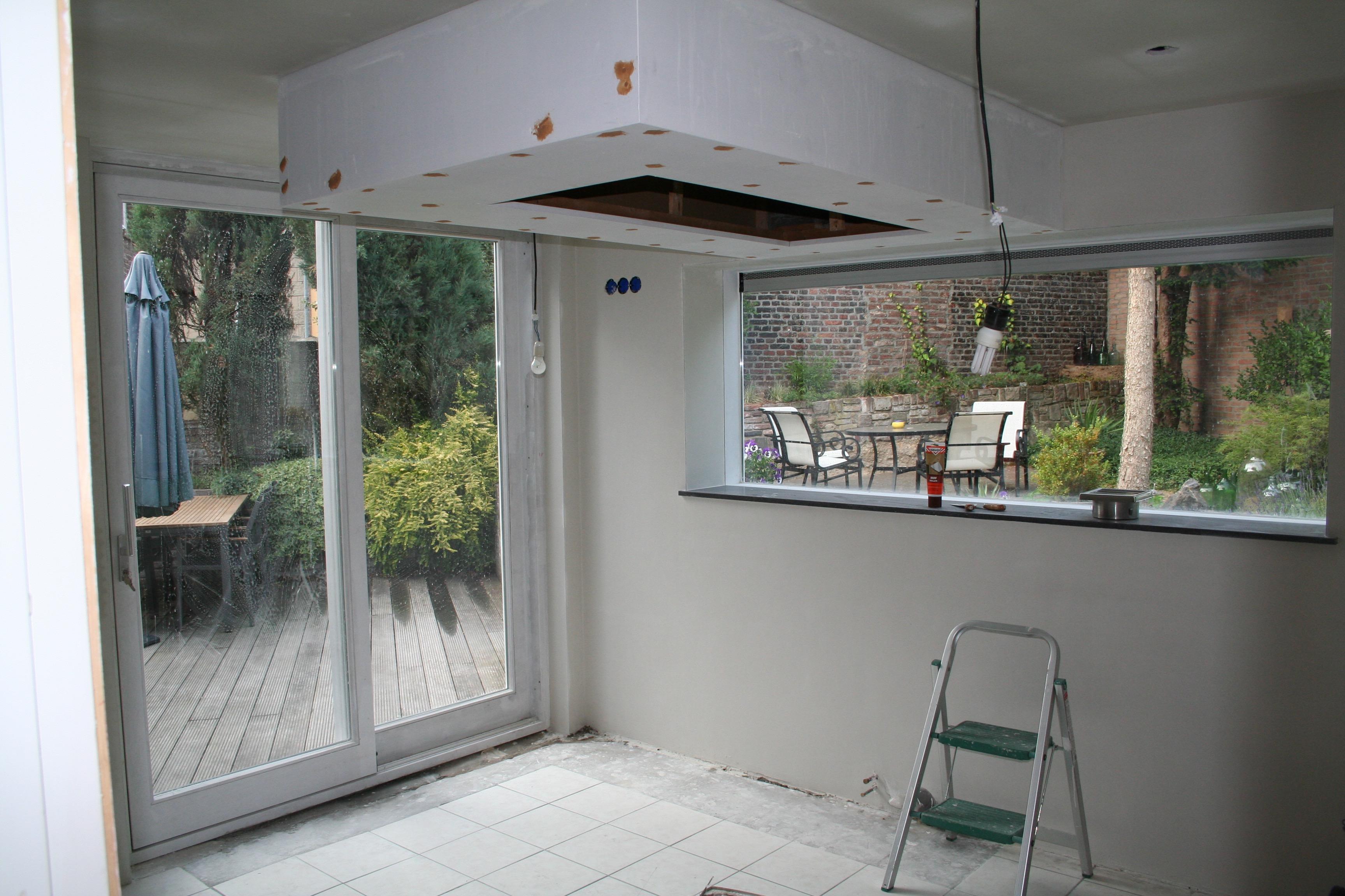 Schuifpui en raam zijn geplaatst